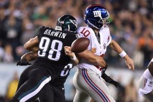 Connor Barwin computou três sacks em Eli