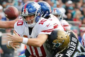 Eli Manning sofreu com a defesa dos Jaguars no segundo tempo