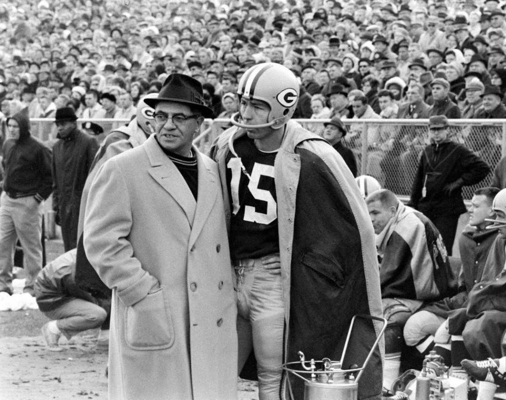 Bart Starr e Vince Lombardi, comandantes dos Packers nos dois primeiros Super Bowls