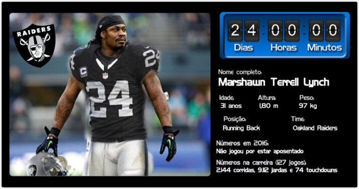 Se você é um defensor na NFL e do outro lado um certo Marshawn Lynch está  no backfield… boa sorte. O running back não apenas gosta do contato – ele  procura ... b705e088ad9e4